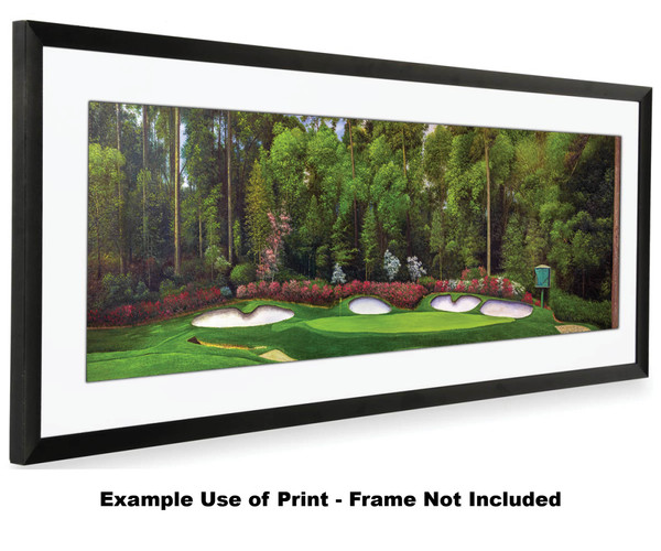 Augusta National Golf Club Masters Amen Corner Hole 13 Magnolia Art golf course oil painting art print 3000 16x40 white mat black frame on wide panorama image