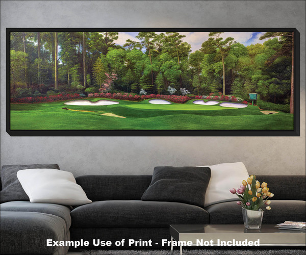 Augusta National Golf Club Masters Amen Corner Hole 13 Magnolia Art golf course oil painting art print 3000 black frame living room scene