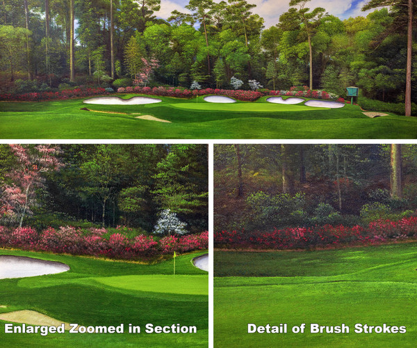 Augusta National Golf Club Masters Amen Corner Hole 13 Magnolia Art golf course oil painting art print 3000 full view of artwork plus two zoomed in focal points to show brush detail on canvas