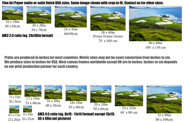 Pebble Beach Golf Links Club Hole 7 golf course oil painting art print 2550 Art Print size comparisons for common sizes