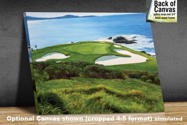 Pebble Beach Golf Links Club Hole 7 golf course oil painting art print 2550 Art Print available as canvas frame