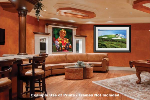 Pebble Beach Golf Links Club Hole 7 golf course oil painting art print 2550 Art Print game room bar example