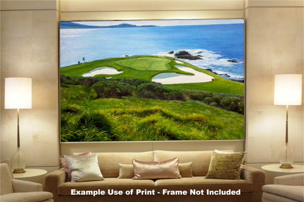 Pebble Beach Golf Links Club Hole 7 golf course oil painting art print 2550 Art Print available as huge canvas frame in living room