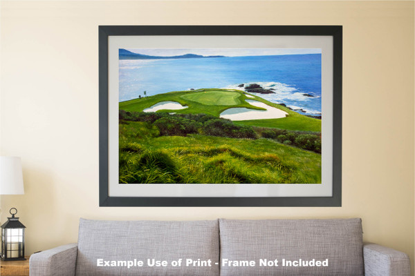 Pebble Beach Golf Links Club Hole 7 golf course oil painting art print 2550 Art Print matted and framed over sofa example