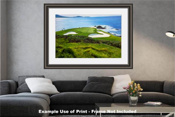 Pebble Beach Golf Links Club Hole 7 golf course oil painting art print 2550 Art Print modern living room example