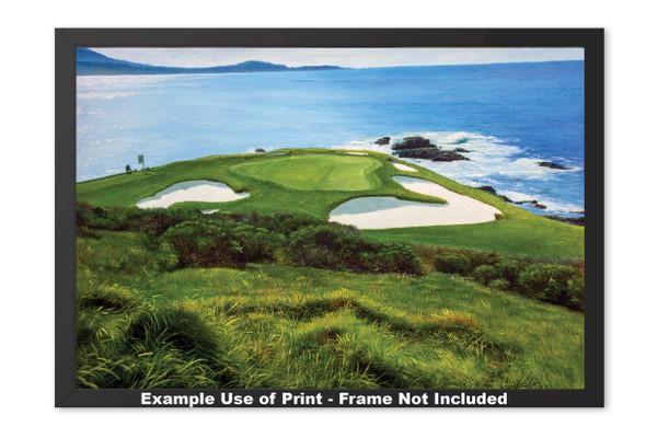 Pebble Beach Golf Links Club Hole 7 golf course oil painting art print 2550 Art Print framed example
