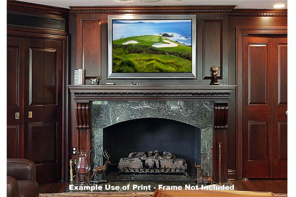 Pebble Beach Golf Links Club Hole 7 golf course oil painting art print 2550 Art Print framed print over fireplace example
