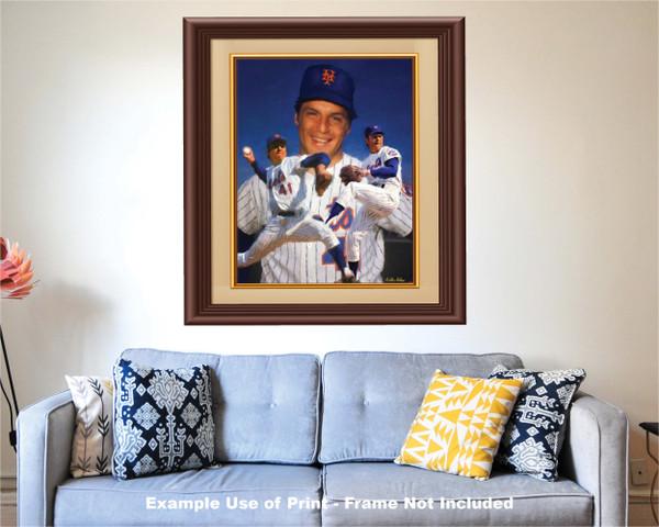 Tom Seaver New York Mets Tom Terrific NY Miracle Mets MLB Baseball Stadium Art Print 2510 matted and framed over sofa example
