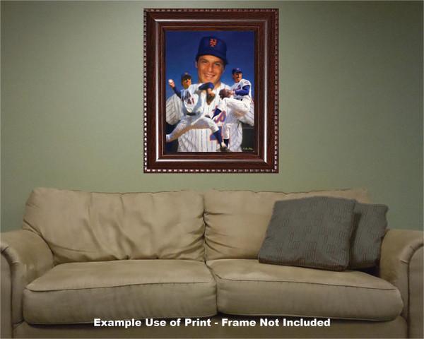 Tom Seaver New York Mets Tom Terrific NY Miracle Mets MLB Baseball Stadium Art Print 2510 room example with frame