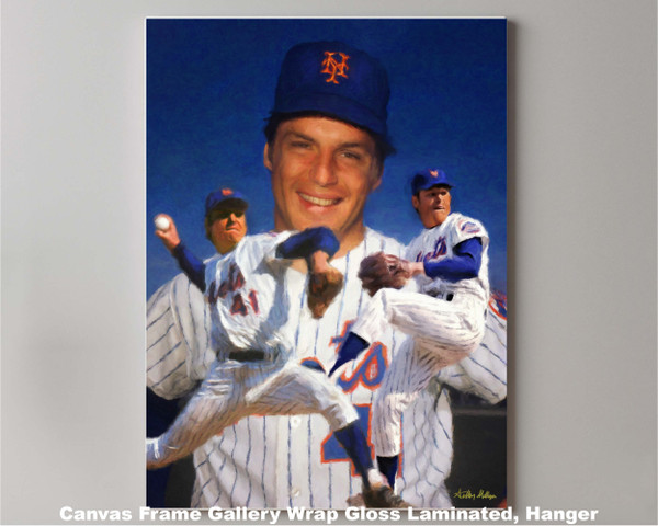 Tom Seaver New York Mets Tom Terrific NY Miracle Mets MLB Baseball Stadium Art Print 2510 canvas frame gallery wrapped