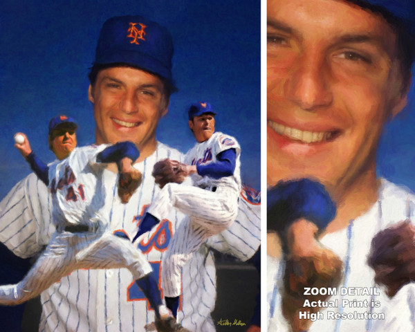Tom Seaver New York Mets Tom Terrific NY Miracle Mets MLB Baseball Stadium Art Print 2510 main image with zoom detail