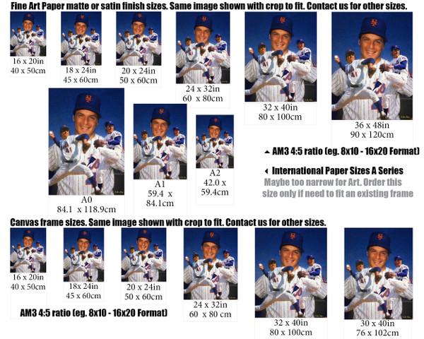 Tom Seaver New York Mets Tom Terrific NY Miracle Mets MLB Baseball Stadium Art Print 2510 size example comparison with international sizes