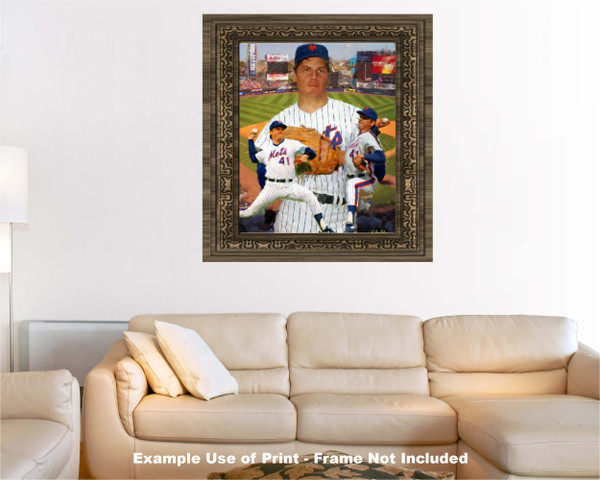 Tom Seaver New York Mets Tom Terrific NY Miracle Mets MLB Baseball Stadium Art Print 2510 cream living room example with frame