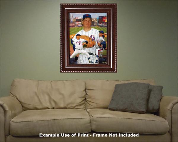 Tom Seaver New York Mets Tom Terrific NY Miracle Mets MLB Baseball Stadium Art Print 2520 hard wood frame example