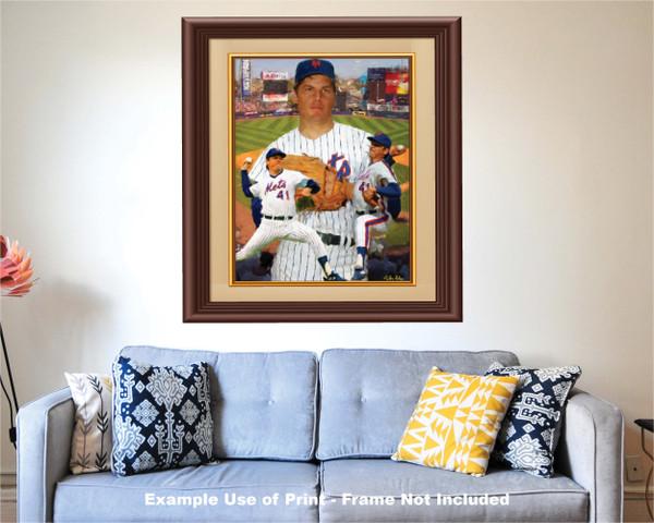 Tom Seaver New York Mets Tom Terrific NY Miracle Mets MLB Baseball Stadium Art Print 2520 matted and framed over sofa example