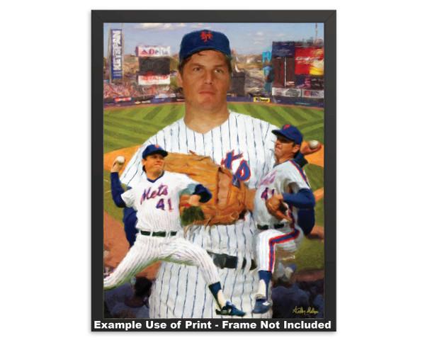 Tom Seaver New York Mets Tom Terrific NY Miracle Mets MLB Baseball Stadium Art Print 2520 framed example