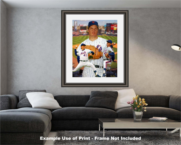 Tom Seaver New York Mets Tom Terrific NY Miracle Mets MLB Baseball Stadium Art Print 2520 modern living room example