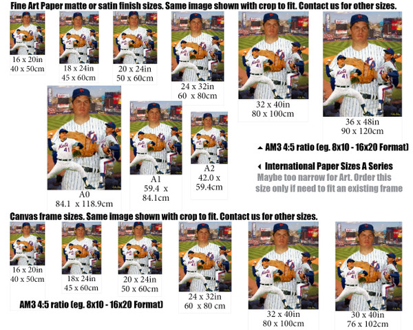 Tom Seaver New York Mets Tom Terrific NY Miracle Mets MLB Baseball Stadium Art Print 2520 size example comparison with international sizes