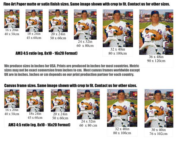 Tom Seaver New York Mets Tom Terrific NY Miracle Mets MLB Baseball Stadium Art Print 2520 size comparisons for common sizes