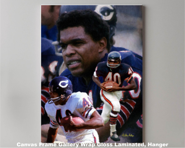 Gale Sayers Chicago Bears Running Back 2510 NFL Football  Art Print 2510 canvas frame gallery wrapped