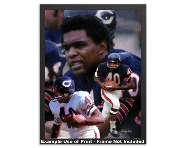 Gale Sayers Chicago Bears Running Back 2510 NFL Football  Art Print 2510 framed example