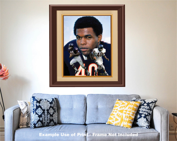 Gale Sayers Chicago Bears Running Back 2520 NFL Football  Art Print 2520 matted and framed over sofa example