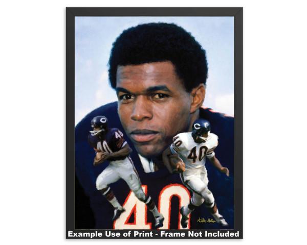 Gale Sayers Chicago Bears Running Back 2520 NFL Football  Art Print 2520 framed example