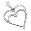 """.925 Sterling Silver Round Diamond Double Heart Cut Out Pendant 1"""" Charm 0.10 CT."""