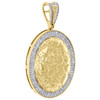 "10K Yellow Gold Real Diamond Nugget Ore Oval Frame Pendant 1.70"" Charm 0.53 CT."