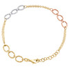 14K Tri Color Gold 6.50mm Cable Chain Textured Oval Link Italian Bracelet 8""