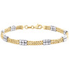 """14K Multi Tone Gold 4.75mm Moon Cut Beaded Link Fancy Statement Bracelet 7.50"""""""