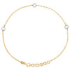 """14K Yellow Gold Fancy Rolo Link Sunflower Cut Out Charm Anklet 9.50""""+1"""" Ext."""