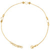 """14K Yellow Gold Fancy Cable Link Love & Heart Stack Charm Anklet 9.50""""+1"""" Ext."""