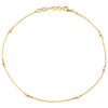 "14K Yellow & Rose Gold Fancy Cable Link Moon Cut Beaded Anklet 9.50""+1"" Ext."