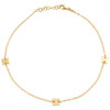 "14K Yellow Gold Fancy Rolo Link Statement Butterfly Charm Anklet 9.50""+1"" Ext."