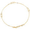 """14K Yellow Gold Fancy Cable Link Love & Heart Cut Out Charm Anklet 9.50""""+1"""" Ext."""