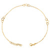 "14K Yellow Gold Fancy Cable Link Love & Heart Cut Out Charm Anklet 9.50""+1"" Ext."