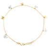 "14K Yellow Gold Fancy Rolo Link Butterfly Cut Out Charm Anklet 9.50""+1"" Ext."