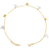 """14K Yellow Gold Fancy Rolo Link Butterfly Cut Out Charm Anklet 9.50""""+1"""" Ext."""