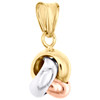 14K Tri-Color Gold Fancy Italian Love Knot Textured Pendant Women's Charm 0.80""