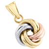 14K Tri-Color Gold Fancy Italian Love Knot Textured Pendant Women's Charm 0.85""