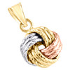 """14K Tri-Color Gold Fancy Italian Love Knot Hammered Textured Pendant Charm 0.80"""""""