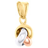 14K Tri-Color Gold Fancy Italian Love Knot Textured Pendant Women's Charm 0.75""