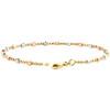 """14K Tri Color Gold 2.50mm Italian Moon Diamond Cut Beaded Fancy Link Bracelet 7"""""""