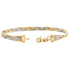 14K Multi Tone Gold Italian Fancy Braided Diamond Cut Snake Strand Bracelet 7""