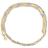 """14K Two Tone Gold 2.50mm Italian Moon Cut Bead Chain Fancy Textured Necklace 18"""""""