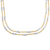 14K Two Tone Gold 2.50mm Italian Moon Cut Bead Chain Fancy Textured Necklace 18""