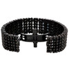 """Black PVD Stainless Steel Real Diamond Prong Set 8"""" Statement Link Bracelet 4 CT"""