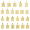 10K Two Tone Gold Filigree D/C Frame Initial Charms Medium Pendant | A to Y