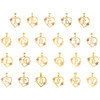 10K Two Tone Gold Rose Floral Heart Frame Initial Charms Small Pendants | A to Y
